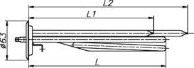 ТЕН до бойлера Thermex 1500-2000 Вт 230 В на фланці 63 мм