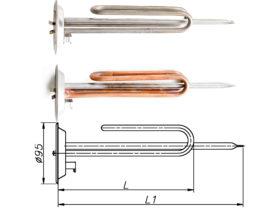 ТЕН до бойлера Thermex 1500-2000 Вт 230 В на фланці 95 мм