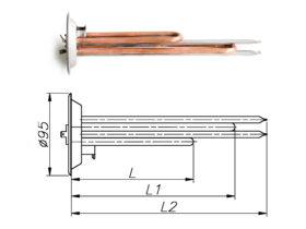 ТЕН до бойлера Thermex 1000-2500 Вт 230 В на фланці 95 мм