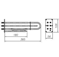 Блок-ТЕН 9000 Вт 230 В до професійного харчового котла ТМ Abat з трубкою під термопару